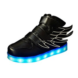 USB Rechargeable Enfants Flash LED lumineux Aile chaussures Sneakers oH8227pMo