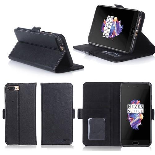 oneplus 5 housse portefeuille luxe noire cuir style avec stand etui noir coque de protection. Black Bedroom Furniture Sets. Home Design Ideas