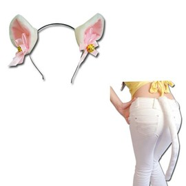 oreille chat blanc clochette dor e serre t te une queue blanc chat grande taille sert t te. Black Bedroom Furniture Sets. Home Design Ideas
