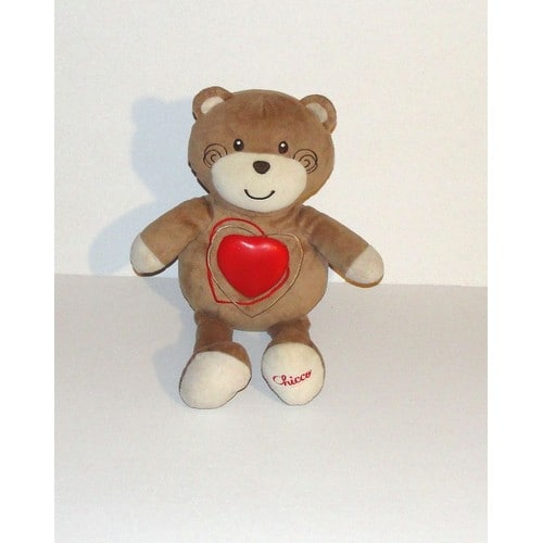 ours chicco veilleuse berceuse peluche ours coeur lumineux sonore - Ours Coeur