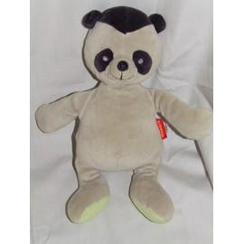 Ours Panda Marese Doudou Peluche Gris Noir 30 Cm
