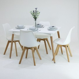 P n homewares table manger lorenzo et 4 chaises for Chaises blanches modernes