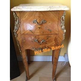 paire d 39 anciennes tables de chevet style louis xv art d co bois marbre avec 2 tiroirs. Black Bedroom Furniture Sets. Home Design Ideas