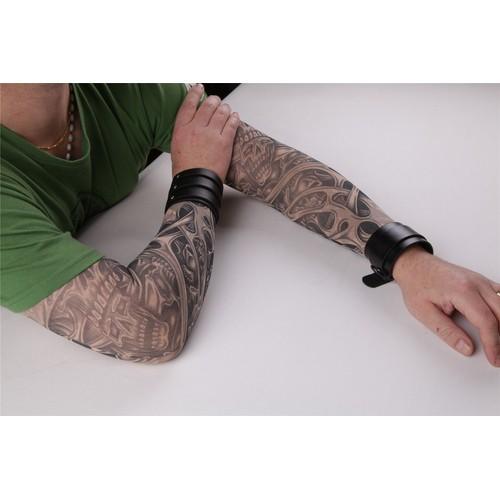 paire de manches tatouage tattoo sleeve collants bras jambe invasion peau t te de mort. Black Bedroom Furniture Sets. Home Design Ideas
