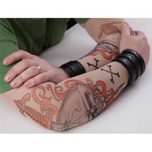 paire de manches tatouage tattoo sleeve collants bras jambe t te de mort pirate temporaire. Black Bedroom Furniture Sets. Home Design Ideas