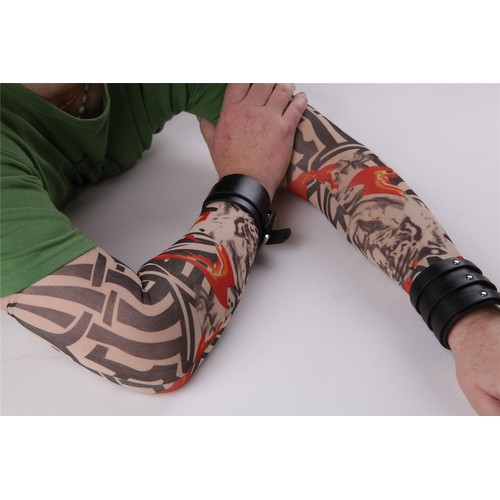 paire de manches tatouage tattoo sleeve collants bras jambe tigre tribal flammes temporaire. Black Bedroom Furniture Sets. Home Design Ideas