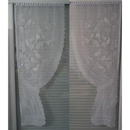 Rideaux Oiseaux paire de rideaux / vitrage 60 x 160 mm. blanc. motif oiseaux