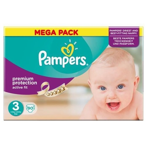 Pampers active fit taille 3 midi 4 a 9 kg couches mega - Couches pampers active fit taille 4 giga pack ...