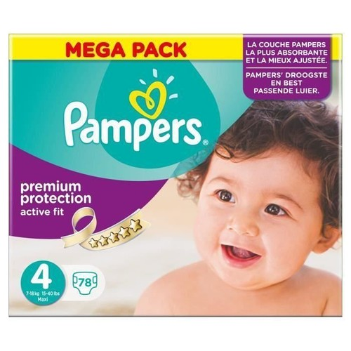 Pampers Active Fit Taille 4 Maxi 7 A 18 Kg Couches Mega Pack X78
