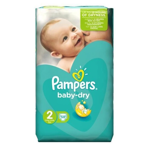 Pampers baby dry taille 2 mini 3 a 6 kg 58 couches pas cher - Couches pampers baby dry taille 3 ...