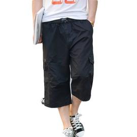 e6b1b0284d15 Pantacourt Homme Bermuda Hommes Plage De Sable Short Homme Cargo Coton  Baggy Couleur Unie - Noir Zs0635