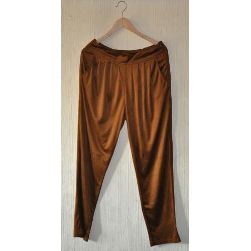 pantalon carotte fluide noisette aspect daim t m l neuf rakuten. Black Bedroom Furniture Sets. Home Design Ideas
