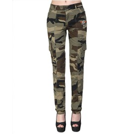 Pantalon Broderie Slim Moyenne Camouflage De Armee Casual Taille Femme tCoxBrsdQh