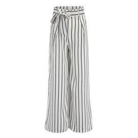 Superbe Pantalon Femme Large Lache Taille Haute Lacet Rayure Blanc