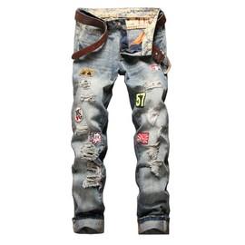 Coton Zs0898 Jeans Écusson En Jean Homme Troué Vintage Pantalon De 29EDWIeHY