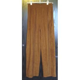 Fauve Élastique Pantalon Taille Marron Couleur Suédine OX8n0Pkw
