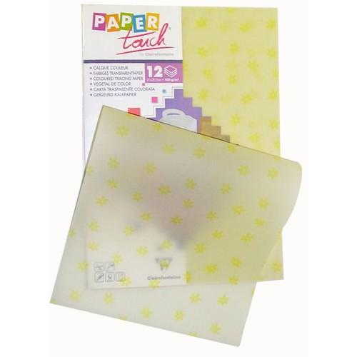 papier calque couleur paper touch a4 jaune motifs fleurs x 12 feuilles. Black Bedroom Furniture Sets. Home Design Ideas