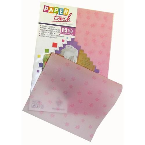 papier calque couleur paper touch a4 rose motifs fleurs x 12 feuilles. Black Bedroom Furniture Sets. Home Design Ideas