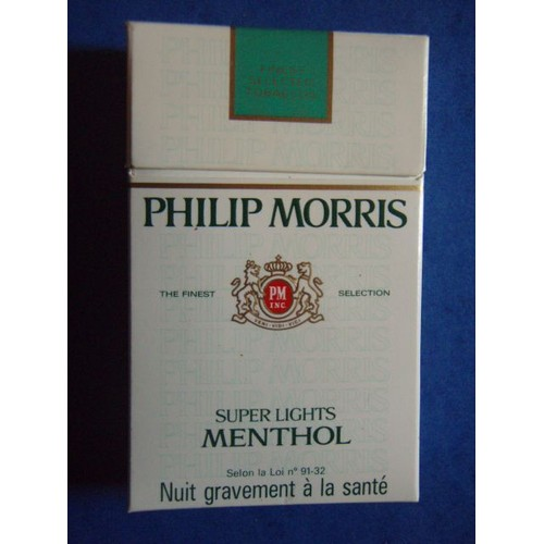 paquet de cigarettes vide philip morris super lights menthol. Black Bedroom Furniture Sets. Home Design Ideas