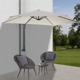 parasol de mur casoria parasol d port pour balcon ou terrasse 3m inclinable cr me. Black Bedroom Furniture Sets. Home Design Ideas