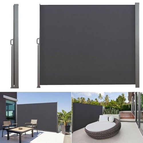 paravent r tractable 300 x 140 cm store gris lat ral enroulable. Black Bedroom Furniture Sets. Home Design Ideas