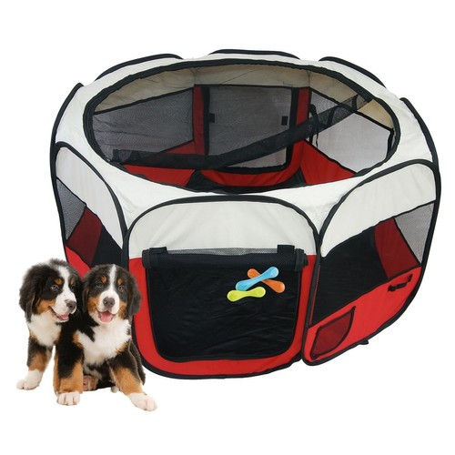parc chiots pour chiens chats ou rongeurs parc animaux rouge avec filet. Black Bedroom Furniture Sets. Home Design Ideas