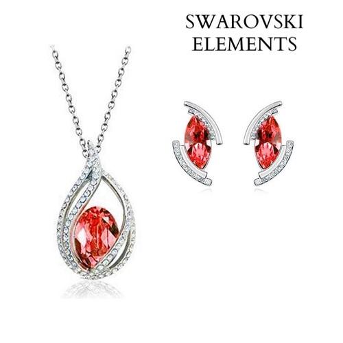 Clever Parure Swarovski Neuve Collier Et Boucles D'oreilles Bijoux, Montres