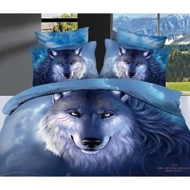 parure de lit loup 200 230 cm 3d effet 4 piece achat et vente. Black Bedroom Furniture Sets. Home Design Ideas