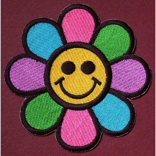 Patch Thermocollant Ecusson Smiley Fleur Hippie Flower Power Smile