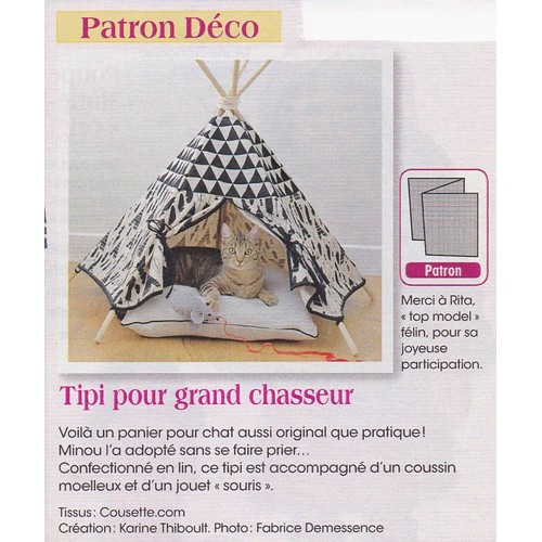 patron couture d coration n 402982 tipi coussin et souris pour chat. Black Bedroom Furniture Sets. Home Design Ideas