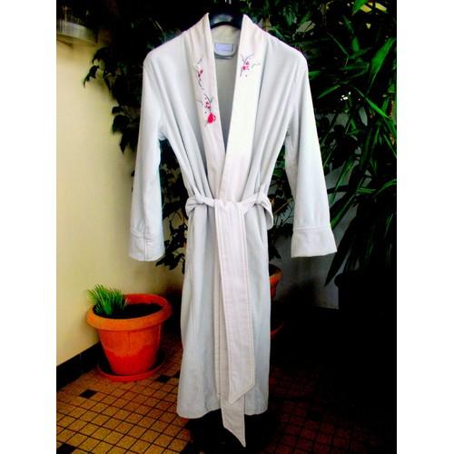 peignoir femme kimono beige brod carre blanc t38 40. Black Bedroom Furniture Sets. Home Design Ideas