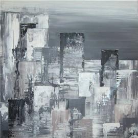 Peinture abstraite contemporaine blanc gris noir wojewoda - Tableau noir blanc gris ...