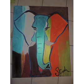 peinture acrylique elephant neuf et d 39 occasion priceminister rakuten. Black Bedroom Furniture Sets. Home Design Ideas