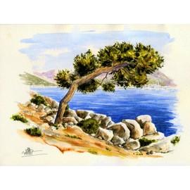 peinture aquarelle originale paysage provence menton cap martin 28 3x21. Black Bedroom Furniture Sets. Home Design Ideas