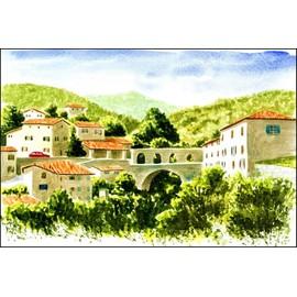 peinture aquarelle paysage village montagne entrevaux 20x30 cm. Black Bedroom Furniture Sets. Home Design Ideas