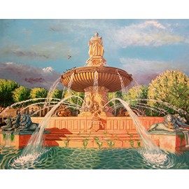 Peinture Fontaine De La Rotonde Du0027 Aix En Provence Peinture Huile Sur Toile  Aux Couteaux Et ...