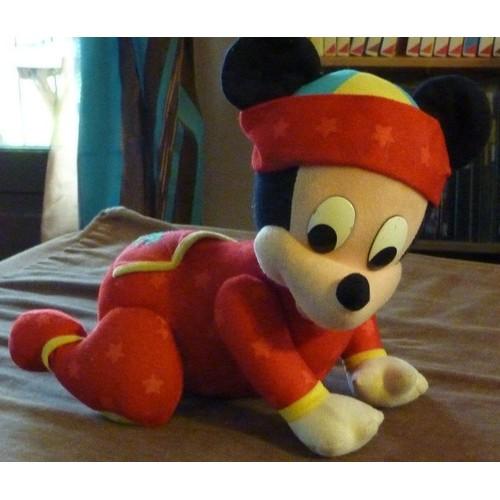 Peluche Disney - Mickey Bébé Rouge À Quatre Pattes Qui Marche