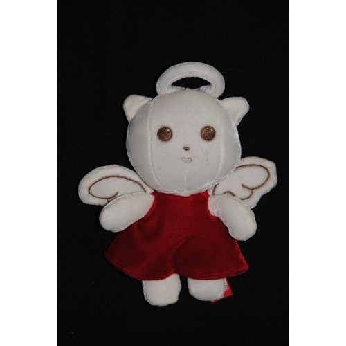 peluche doudou chat ange orchestra ours blanc robe rouge velour bruit froissement papier dans. Black Bedroom Furniture Sets. Home Design Ideas