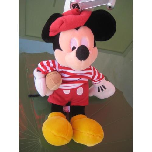 peluche doudou mickey rouge ray b ret et baguette de pain disney store 45 cm. Black Bedroom Furniture Sets. Home Design Ideas
