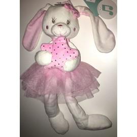 peluche doudou musical tex baby lapin blanc rose tutu boite a musique coeur etoiles argent jouet. Black Bedroom Furniture Sets. Home Design Ideas