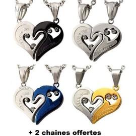 pendentif coeur s parable acier amour couple amoureux i love you s cable 2 chaines. Black Bedroom Furniture Sets. Home Design Ideas