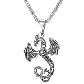 pendentif dragon viking style collier cool acier inox plaqu or jaune maille spiga bijoux pour homme. Black Bedroom Furniture Sets. Home Design Ideas