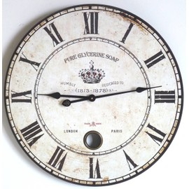 pendule horloge murale pure glycerine soap en bois 58cm l 39 h ritier du temps. Black Bedroom Furniture Sets. Home Design Ideas