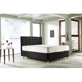 perla lit coffre noir 160x200 cm avec sommier tete de lit capitonne. Black Bedroom Furniture Sets. Home Design Ideas