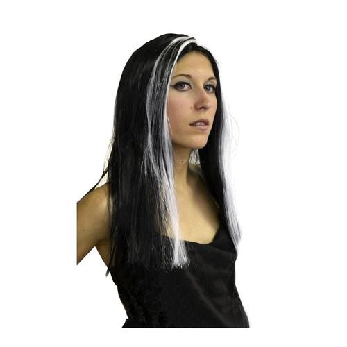 perruque sorci re long cheveux noir m che blanche achat et vente. Black Bedroom Furniture Sets. Home Design Ideas