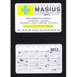 petit calendrier de poche 2013 calendar pharmacie masius metz plastique taille carte de cr dit. Black Bedroom Furniture Sets. Home Design Ideas