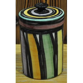 Petit Pot Decoratif Multicolore Peinture Vernie Avec Couvercle