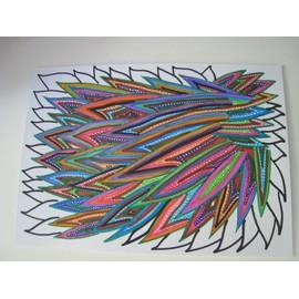 Petit tableau signe par artiste esprit ethnique art contemporain abstrait brut - Tableau ethnique contemporain ...
