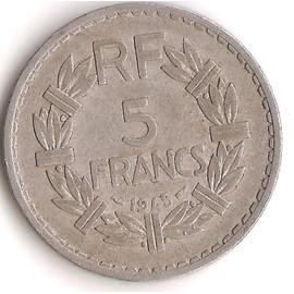 pi ce de monnaie 5 francs lavrillier alu 1945 avec le 9 fermer tr s rare tb. Black Bedroom Furniture Sets. Home Design Ideas