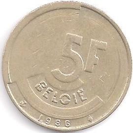 pi ce de monnaie belgique 5 f 1986 achat et vente. Black Bedroom Furniture Sets. Home Design Ideas